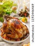 christmas whole roast chicken...   Shutterstock . vector #1192446469