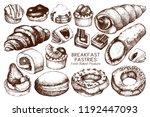 breakfast pastries and brownies ... | Shutterstock .eps vector #1192447093