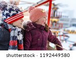 two little kids  boy and girl... | Shutterstock . vector #1192449580
