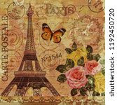 paris vintage postcard. | Shutterstock . vector #1192450720