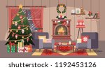 christmas cozy living room... | Shutterstock .eps vector #1192453126