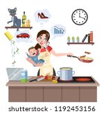 busy multitasking mother with... | Shutterstock .eps vector #1192453156
