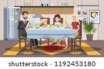 family having breakfast at the... | Shutterstock .eps vector #1192453180