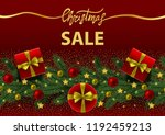 christmas sale card with gold... | Shutterstock .eps vector #1192459213