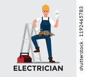 electrician man   vector... | Shutterstock .eps vector #1192465783