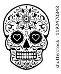 vector mexican skull with... | Shutterstock .eps vector #1192470343