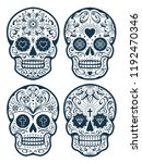 vector mexican skulls with... | Shutterstock .eps vector #1192470346
