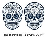 vector mexican skulls with... | Shutterstock .eps vector #1192470349