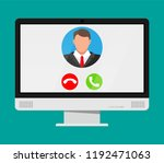 incoming video call on computer.... | Shutterstock .eps vector #1192471063