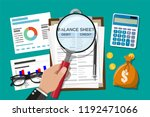 clipboard with balance sheet... | Shutterstock .eps vector #1192471066