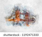 watercolor painting of tower... | Shutterstock . vector #1192471333