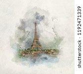 eiffel tower in paris  france... | Shutterstock . vector #1192471339