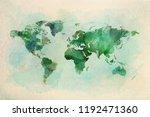 watercolor vintage world map in ...   Shutterstock . vector #1192471360