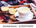 hot healthy green tea with... | Shutterstock . vector #1192474450