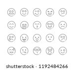 set of faces and emoji outline... | Shutterstock .eps vector #1192484266