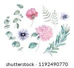 watercolor greenery set. hand... | Shutterstock . vector #1192490770