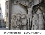 jesus christ statue relief in... | Shutterstock . vector #1192492840