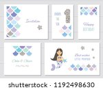 mermaid birthday card templates ... | Shutterstock .eps vector #1192498630