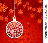 hang christmas bauble over red... | Shutterstock . vector #119250286