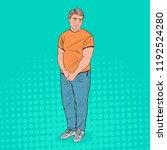 pop art shy fat man. overweight ...   Shutterstock .eps vector #1192524280