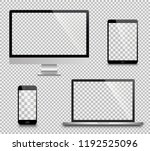 realistic set of monitor ... | Shutterstock .eps vector #1192525096