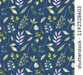 watercolor flower seamless... | Shutterstock . vector #1192528603