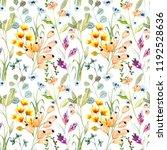 watercolor flower seamless... | Shutterstock . vector #1192528636