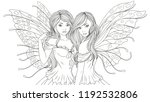 Stock vector vector illustration of two beautiful fairy on a white background 1192532806
