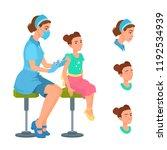 a nurse vaccinates a smiling...   Shutterstock .eps vector #1192534939