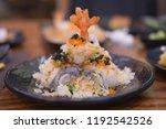 shrimp tempura roll. japanese...   Shutterstock . vector #1192542526