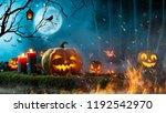 halloween pumpkins on dark... | Shutterstock . vector #1192542970
