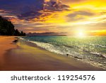 Sunset On Khao Lak Beach In...