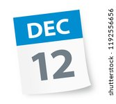 december 12   calendar icon  ... | Shutterstock .eps vector #1192556656