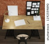 interior of home workplace.... | Shutterstock . vector #1192559890