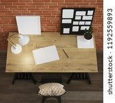 interior of home workplace.... | Shutterstock . vector #1192559893