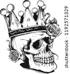 beautiful romantic skull with... | Shutterstock .eps vector #1192571329