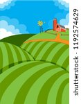 rolling hills of farmland and... | Shutterstock .eps vector #1192574629