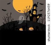 halloween background with full... | Shutterstock .eps vector #1192576459