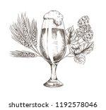 hop brunch and beer goblet... | Shutterstock .eps vector #1192578046