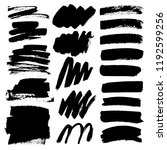 set of brush stroke  black ink... | Shutterstock .eps vector #1192599256
