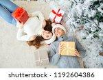 happy young couple  having fun... | Shutterstock . vector #1192604386