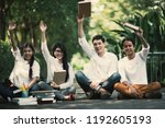 group of young teen college in... | Shutterstock . vector #1192605193