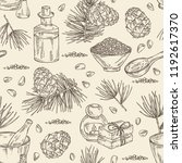 seamless pattern with cedar ... | Shutterstock .eps vector #1192617370