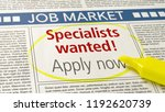 job ad in a newspaper  ... | Shutterstock . vector #1192620739
