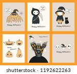 set of halloween greeting cards ... | Shutterstock .eps vector #1192622263