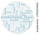 international travel word cloud. | Shutterstock . vector #1192625626