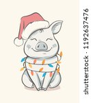 pig symbol 2019 new year.... | Shutterstock .eps vector #1192637476