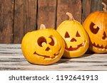funny pumpkins for halloween... | Shutterstock . vector #1192641913