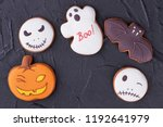 various halloween biscuits on... | Shutterstock . vector #1192641979