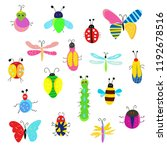 bugs and other insects funny... | Shutterstock .eps vector #1192678516